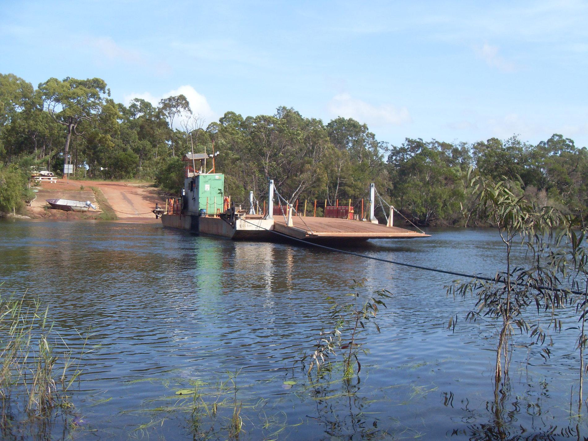 Vehicle Ferry crossing over Jardine River